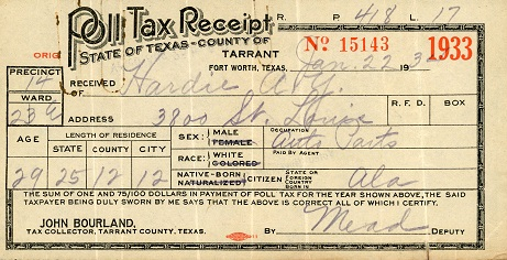 Poll tax receipt from Tarrant County for Alton Young Hardie, 1933