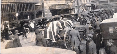 Vernon Castle funeral procession in Downtown Fort Worth, 1918