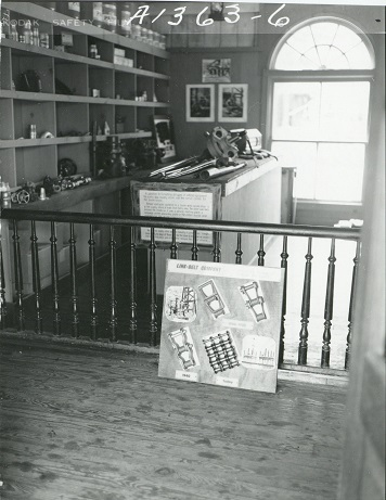 Interior of the museum building in Boom Town at Six Flags Over Texas, undated