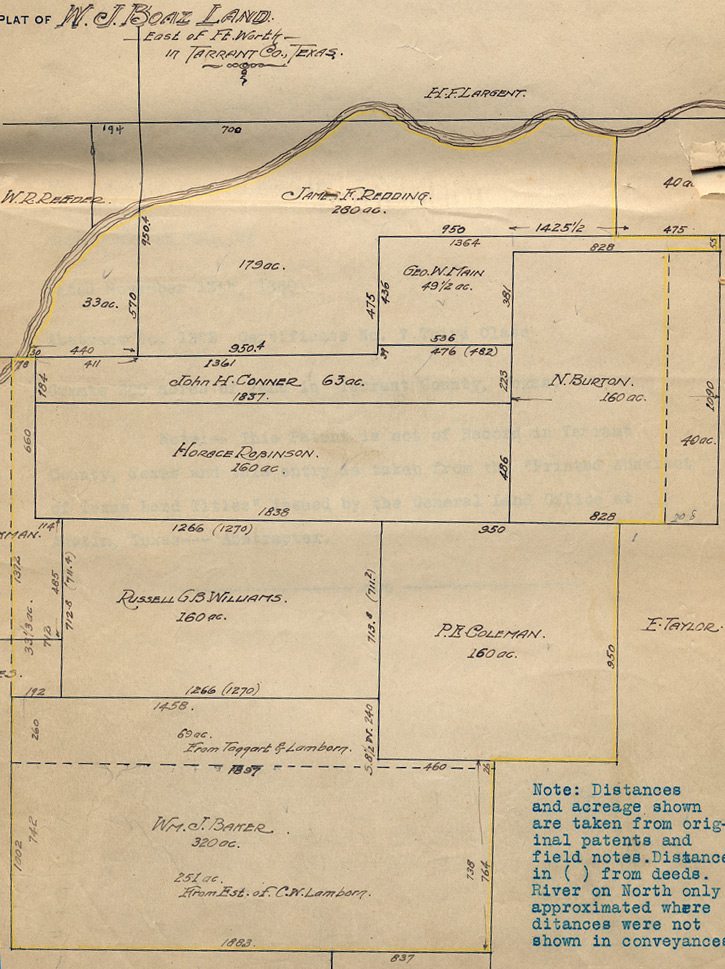 plat map of the W. J. Boaz Estate