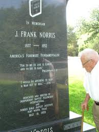Roy Falls at grave of J. Frank Norris