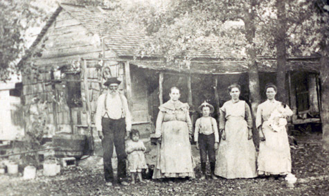 Harper Family in front of Cabin