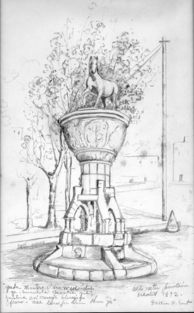 Pattie East drawing of Horse Fountain
