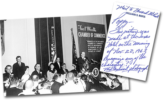 Chamber of Commerce breakfast honoring U.S. President John F. Kennedy, and handwritten note