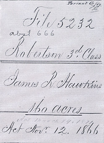 Portion of land record belong to James R. Hawkins