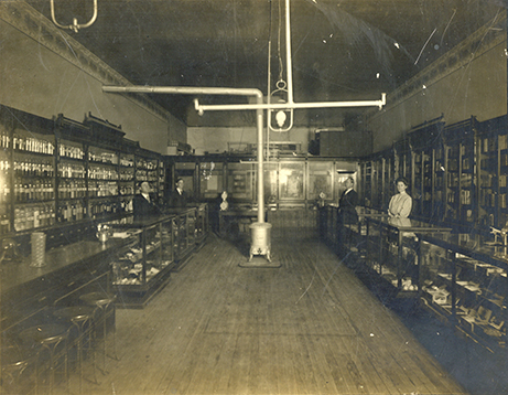 Interior of Walls Drugstore in Grapevine, circa 1888
