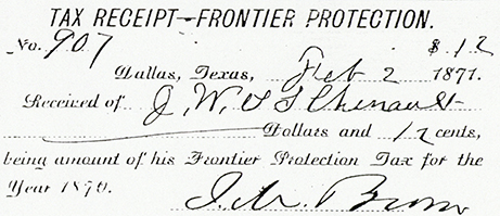 Frontier Protection Tax Receipt 1871