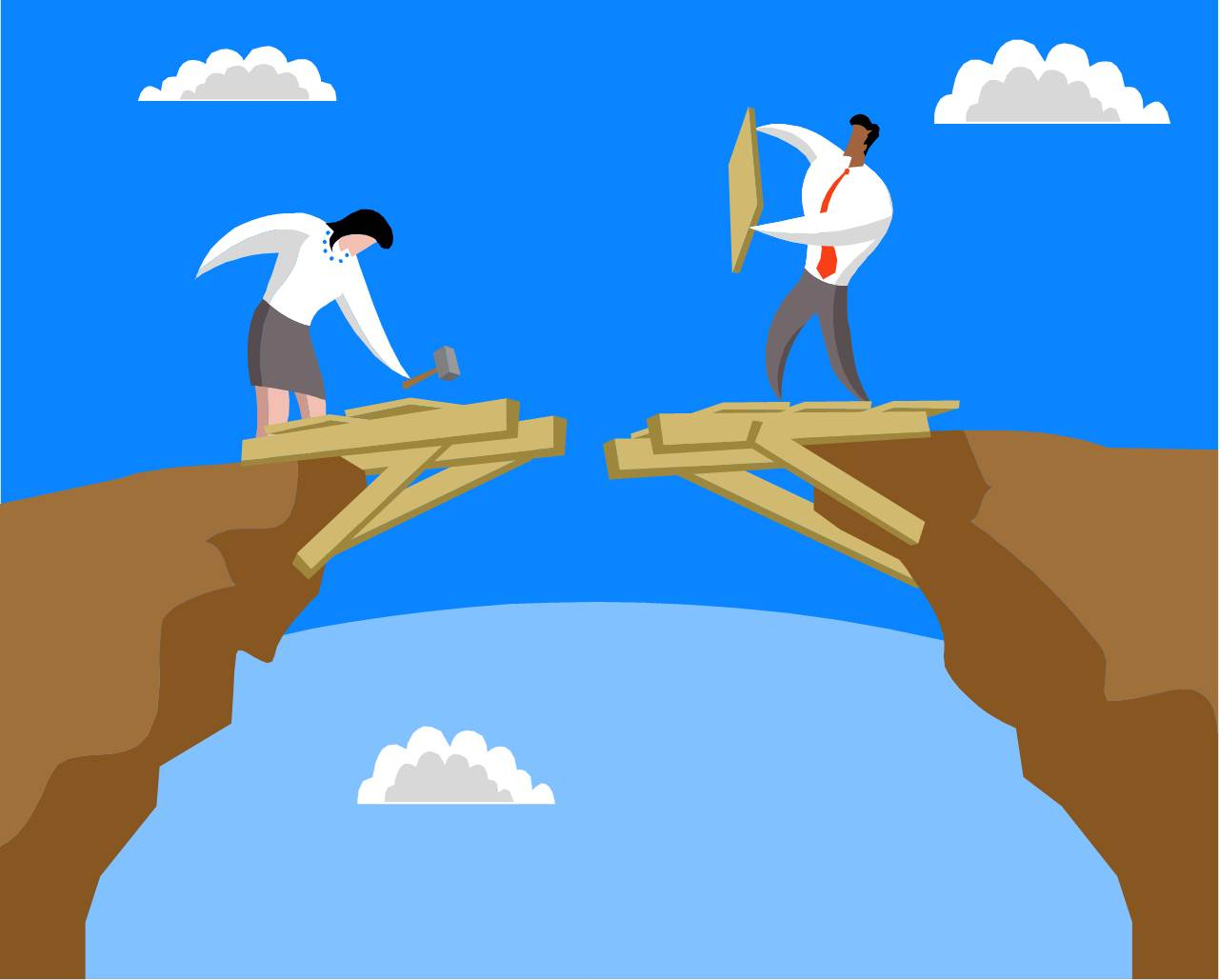 Man and woman building bridges