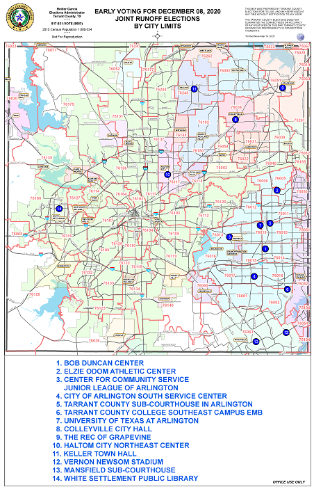 Early Voting Locations Map for the December 8, 2020 Joint Runoff Election