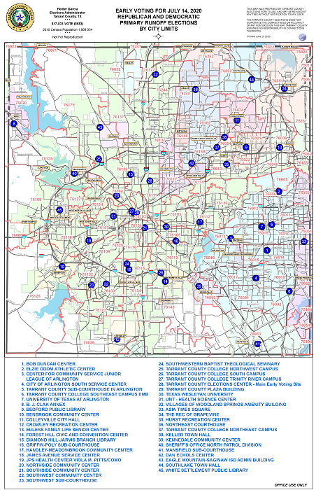 July 14, 2020 - Joint City and Primary Runoff Elections - Early Voting Map