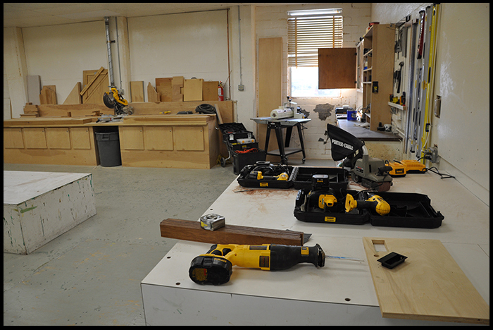 Main Work Area (Wood Shop) (miter saw, panel sander, table saw)