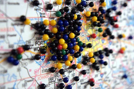 Map marked with push pins