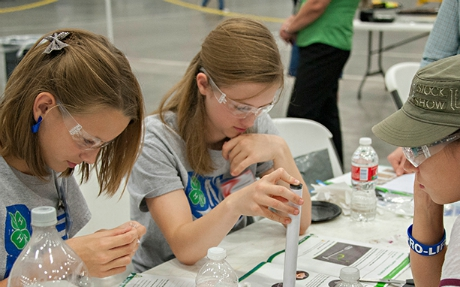 Teens working on a science project
