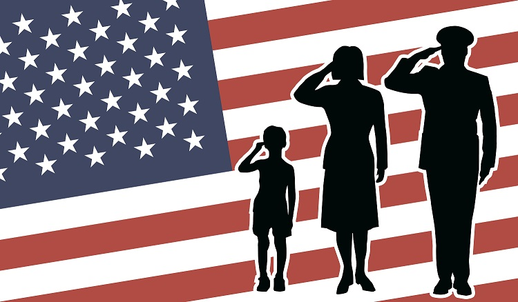 Military Family Saluting the US Flag