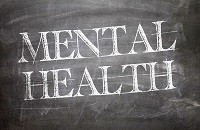 Mental health on chalkboard