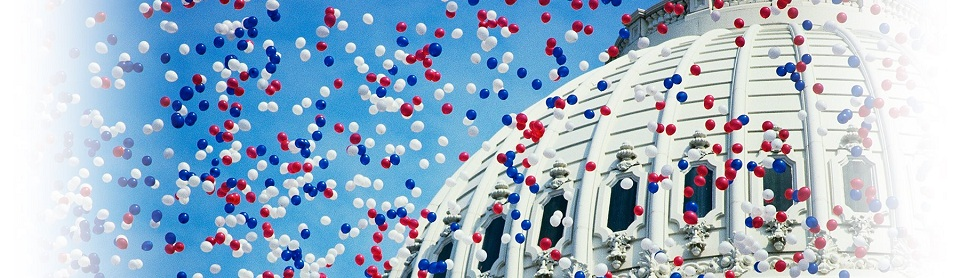 Balloons over capitol building