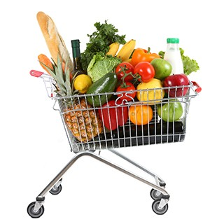 Basket of healthy groceries