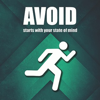 AVOID, starts with your state of mind, silouette of man running