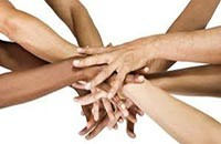 diverse hands joining together