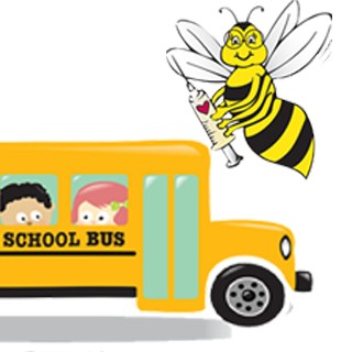 front of school bus, Bee-wise bee logo