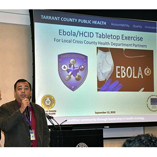 TCPH Director Vinny Taneja welcomes participants to Ebola exercise